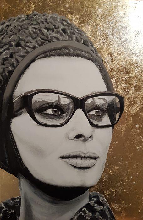 Portrait painting of Sophia Loren