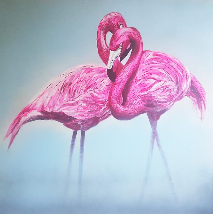 painting of flamingos