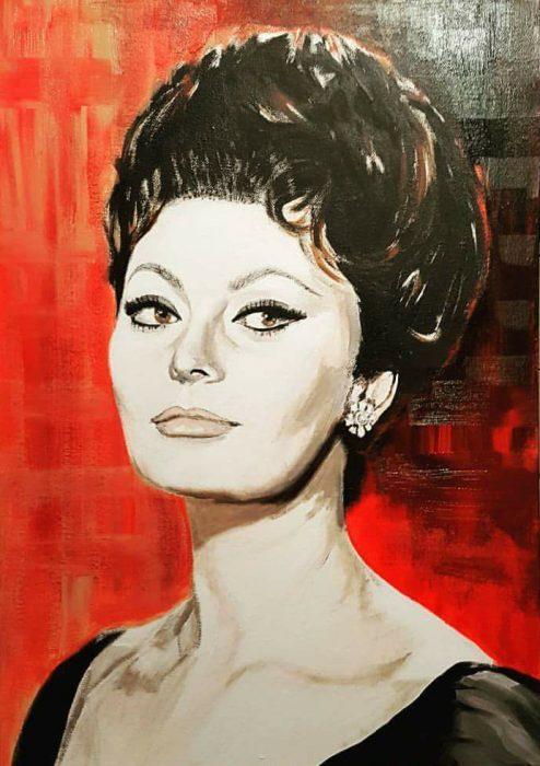 Painting of Sophia Loren