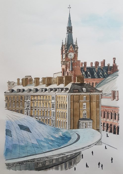 Painting of Kings Cross and St Pancras Hotel