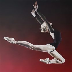 Portrait of a ballerina leaping