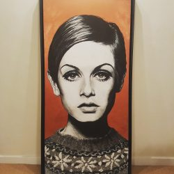 Twiggy portrait painting