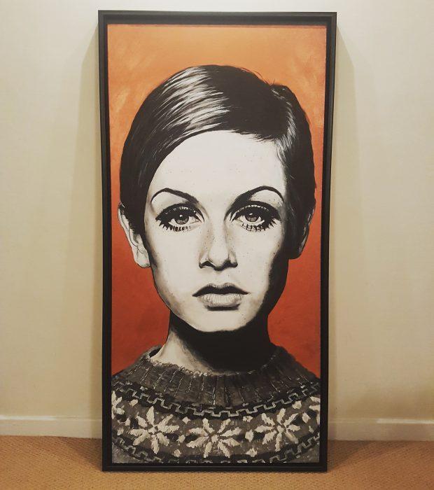 Twiggy portrait painting