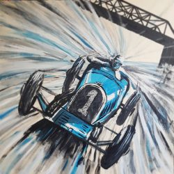 Painting of a Brooklands race car
