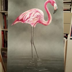 Painting of a flamingo