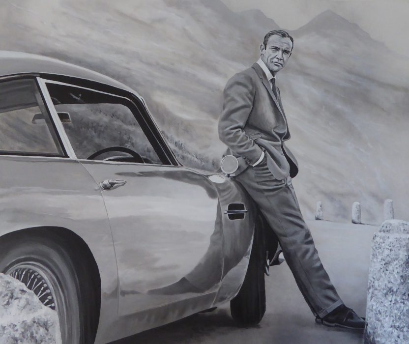 Painting of Sean Connery as James Bond