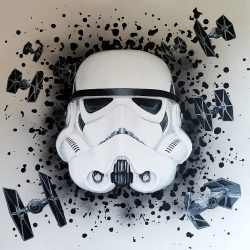 Portrait painting of a Stormtrooper from Star Wars