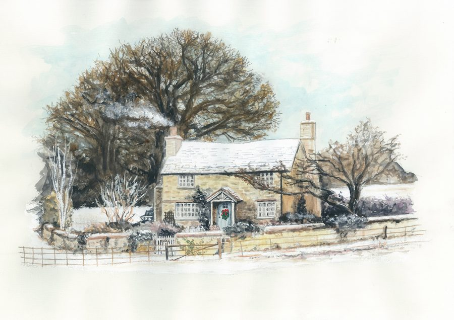 The Holiday film cottage painting