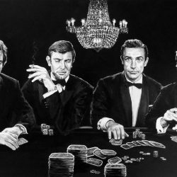 Painting of six James Bonds