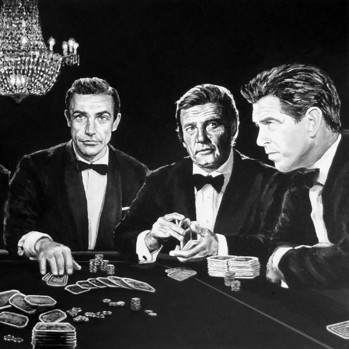 Portrait painting of all the james bonds playing poker