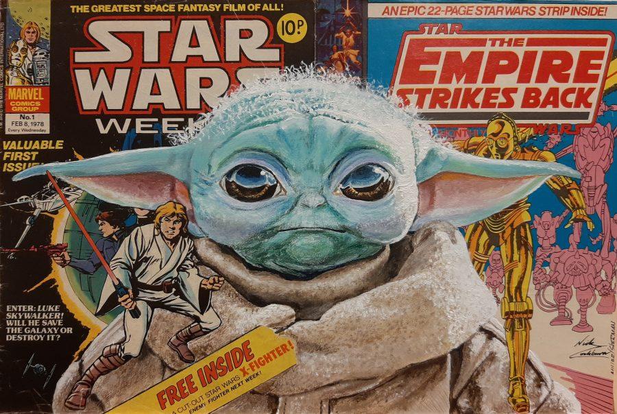 painting of Baby Yoda Grogu